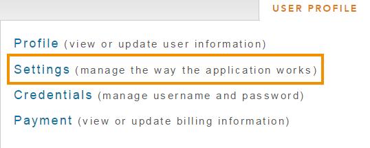 Paramètres d'utilisateur